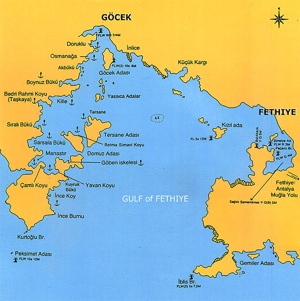 map of Gocek bay