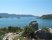 old Lycian sarcophagus is watching over the bay