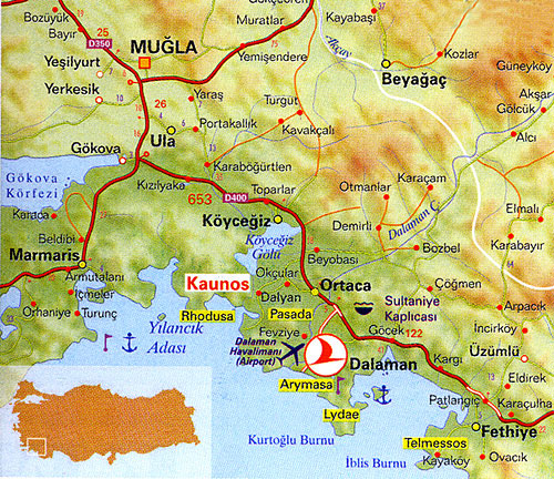 Location Of Caunos And Dalyan
